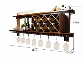 wall mounted wooden wine rack and glass