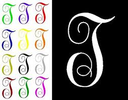 Amazon Com One Single Letter T Monogram Decal 3 Tall White Or Choose From 13 Colors No Background Made By Maple Creek Everything Else