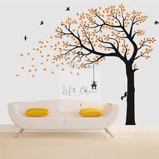 Autumn Tree Vinyl Wall Sticker Flying Birds With Tall Large Size Wall Art Decal Huge Tress Wallpaper Kids Room Forest Decorac205 Wall Stickers Aliexpress