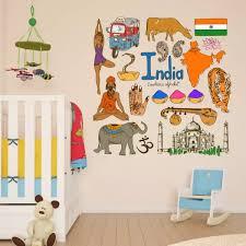 India Colorful Illustration Travel The Word Landmark Wall Sticker Wedding Decor Vinyl Waterproof Wall Sticker Wallpaper Decal Decal Removal Decal Skin Stickerdecal Stickers Car Aliexpress