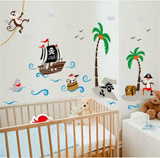 Amazon Com Ufengke Cartoon Pirate Ship Monkey Pirate Coconut Island Wall Decals Children S Room Nursery Removable Wall Stickers Murals Kitchen Dining