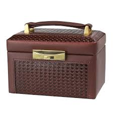 jewelry box genuine brown leather