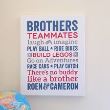Brothers Words Wall Art Canvas Boys Room Decor Papermints