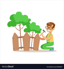 Boy Building Wooden Fence Around Plants Helping In