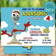 Invitacion De Cumpleanos Editable De Toy Story 4 Forky Descarga