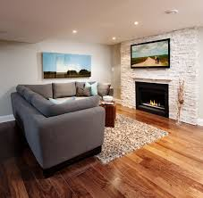 natural stone fireplace with tv