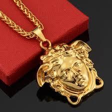 trendy medusa head pendant necklace