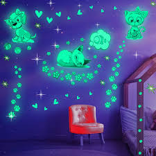 Amazon Com Glow In The Dark Cat Stickers With Dog And Fish Wall Decals Sticker For Kids Bedding Room Great For Birthday Gift Glowing Cat For Girls And Boys Kitchen Dining