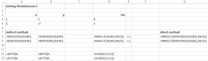 simultaneous equations with excel
