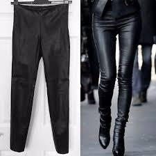 zara black faux leather leggings biker