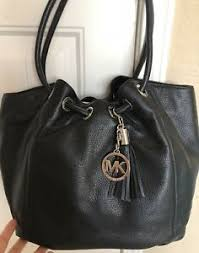 ring tote large black leather silver