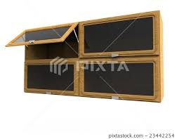 wooden shelves with glass windows