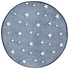 Glow In The Dark Rug Navy Blue Stars Kids Bedroom Round Mat 70 X 70cm Ebay