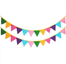 Amazon Com 24 Pcs 18 Feet Fabric Banner Decorations Pennant Flag Triangle Bunting Hanging Polka Dots Garland For Kids Room Baby Shower Birthday Wedding Spring Theme Party Window Decorations Multi Colored Home Kitchen
