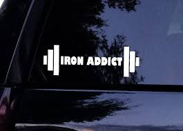 Iron Addict Barbell Decal Gym Workout Window Sticker Car Decals Vinyl Window Stickers Iron Addict