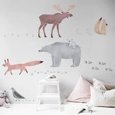 Decalmile Woodland Animal Wall Decals Deer Fox Tree Wall Stickers Nursery Wall Art Decor Kids Bedroom