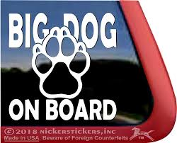 Big Dog On Board Paw Print Window Decal Nickerstickers