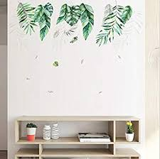 Amazon Com Holly Lifepro Green Tropical Leaves Wall Decals Peel And Stick Tree Leaf Plants Wall Sticker For Home Bedroom Nursery Room Wall Decor Style Two Baby
