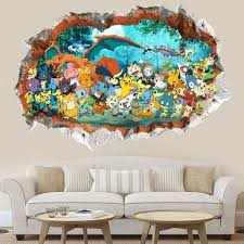 3d Pokemon Go Cute Pikachu Wall Decals Sticker Vinyl Mural Kids Room Decor Color Multicolor Home