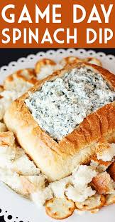 game day spinach dip half scratched