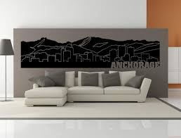 Premium Anchorage Alaska City Skyline Interior Wall Decal With Etsy