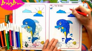 Trò chơi cho bé Hướng Dẫn Tô Màu Cá Heo bằng bút lông | Nhạc thiếu nhi vui  nhộn | Babybum