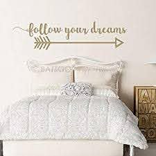 Amazon Com Battoo Arrow Wall Decal Follow Your Dreams Wall Decal Quote Inspirational Wall Quote Boho Vinyl Wall Decor Arrow Wall Decor Tribal Wall Art Gold 22 Wx5 5 H Furniture Decor