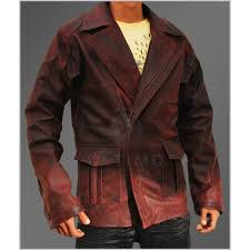 i robot mens leather jacket red distressed