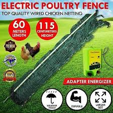 Poultry Netting Electric Chicken Fence Net 60m X 115cm Mesh Fencing Energizer Ebay Chicken Fence Chicken Cages Poultry