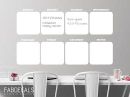 Large Whiteboard Calendar Wall Decal Day By Day Calendar Etsy