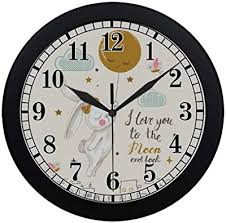 Amazon Com 3d Unique Wall Clock Non Ticking Silent Kids Room Decorative Clock With Cute Lovely Cartoon Shape Puppy Dog 12inch White Kitchen Dining