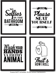 Amazon Com Funny Bathroom Decor Typography Prints Unframed Wall Art Pictures Great Gift Set Of 4 Quotes Signs Rules 8x10 Arts Crafts Sewing