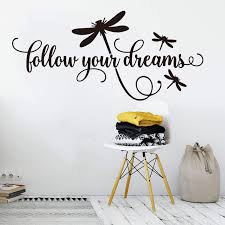 Cartoon Follow Your Dreams Decal Dragonfly Wall Sticker Girl Room Kids Room Dreams Family Quote Wall Decal Playroom Vinyl Decor Wall Stickers Aliexpress
