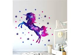 Colorful Stars Outer Space Pattern Unicorn Wall Decal Sticker Removable Vinyl Decor Bedroom Diy Wall Stickers For Girls Room Wish