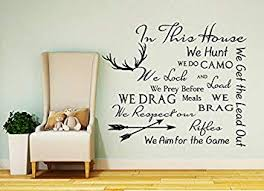 Quote Wall Decal Family Vinyl Sticker Product Made In Usa Quote In This House Sticker Deer Antler Stickers House Rules Vinyl Quote Decor Home Bedroom Fd196 Amazon Com