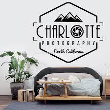 Photographer Wall Decal Personalized Custom Name Sticker Charlotte Photography North California Photo Studio Decor Camera Dg567 Wall Stickers Aliexpress