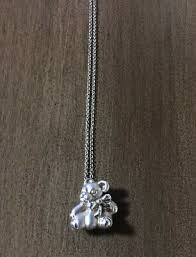 teddy bear with bow pendant necklace