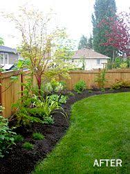 Back Yard Fence And Then Landscaping Really Enjoy The Curved Border Effect Backyard Landscaping Backyard Garden Yard Ideas