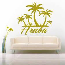Aruba Palm Tree Caribbean Island Vinyl Car Window Decal Sticker