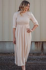 Priscilla Long Sleeve Smocked Maxi Dress – Amber and Ivory