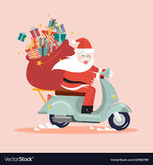 gift sack riding a scooter vector image