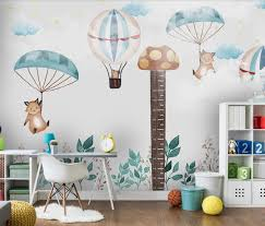 Kids Bedroom Wall Mural Carton Height Sticker Hot Air Balloon Wallpaper Children Room Wall Paper Roll Decor Papel De Parede More Wallpapers Movie Wallpaper From Bdhome 26 46 Dhgate Com