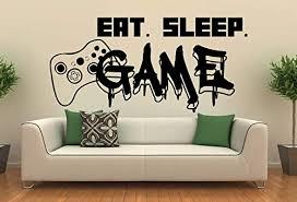 Amazon Com Gamer Wall Decal Eat Sleep Game Wall Decal Controller Video Game Wall Decals Customized For Kids Bedroom Vinyl Wall Art Decals 440re Handmade