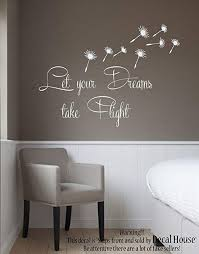 Amazon Com Wall Decals Vinyl Stickers Quote Let Your Dreams Take Flight Dandelion Decal Flower Interior Design Art Murals Bedroom Living Room Decor Kt178 Kitchen Dining