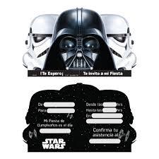 Tarjeta De Invitacion Star Wars 6 Unidades Glam Linea Star Wars