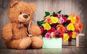 تحميل خلفيات دب لعبة لينة الدب هدية باقة من الورود الورود