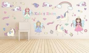 Unicorn Rainbow Fairy Princess Wall Decals Kids Wall Stickers Etsy In 2020 Nursery Wall Decals Girl Girl Nursery Wall Girls Room Decals