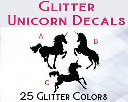 Glitter Unicorn Glitter Unicorn Decal Unicorn Yeti Decal Etsy