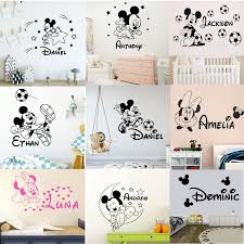 Cartoon Personalized Custom Name Mickey Mouse Wall Sticker Decals For Kids Room Babys Room Decoration Vinyl Wall Decor Decals Leather Bag