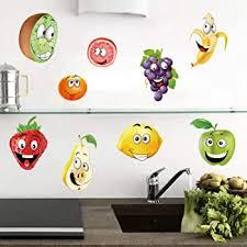 Amazon Com Ufengke Fruit Kitchen Wall Stickers Banana Lemon Apple Emoji Wall Decals Art Decor For Kids Nursery Dining Room Furniture Decor